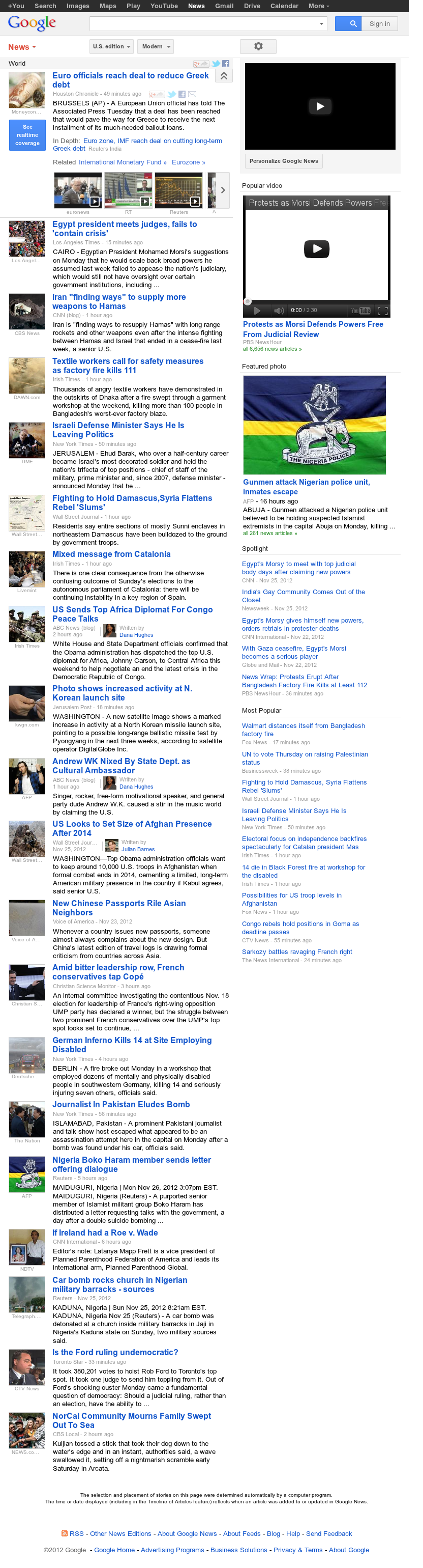 Google News: World at Tuesday Nov. 27, 2012, 2:13 a.m. UTC