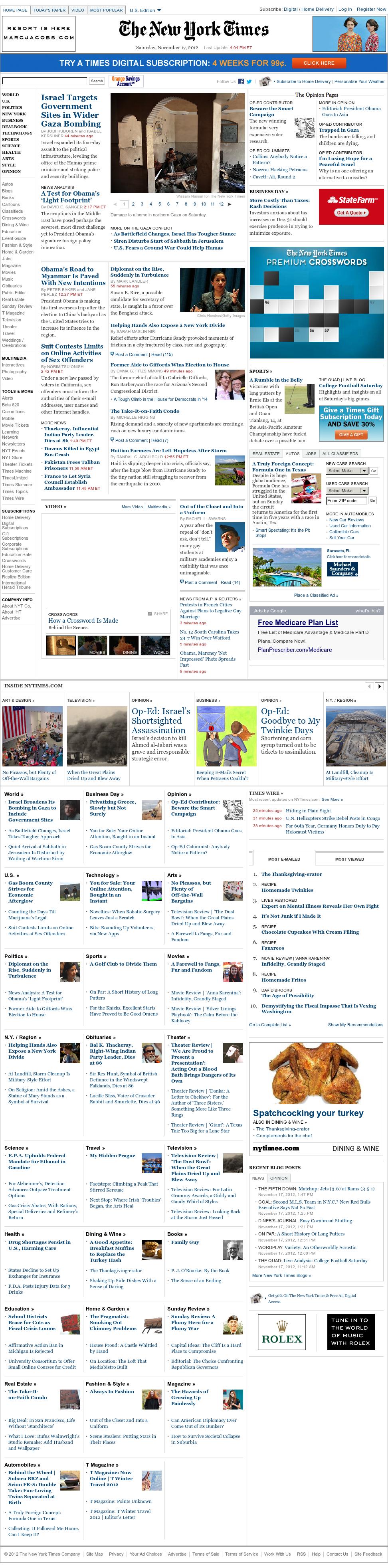 The New York Times at Saturday Nov. 17, 2012, 9:22 p.m. UTC