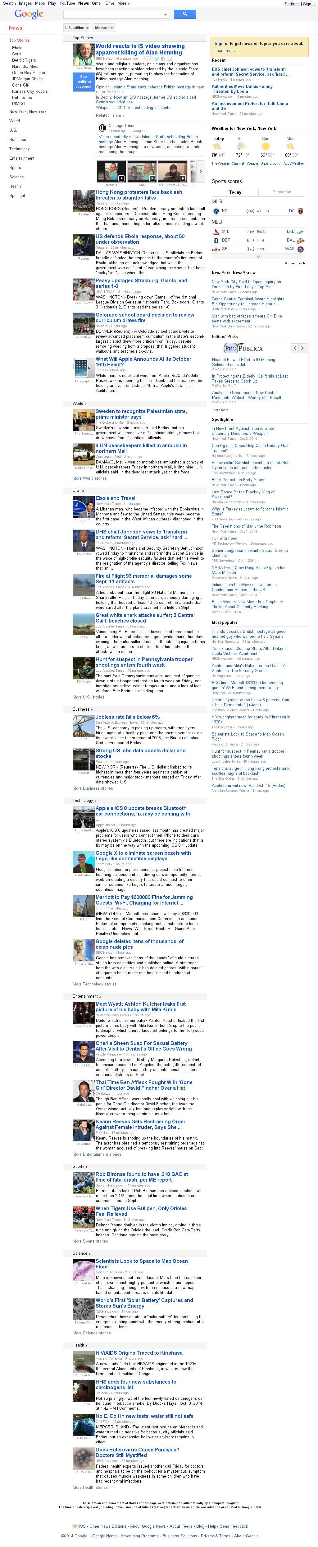 Google News at Saturday Oct. 4, 2014, 1:09 a.m. UTC