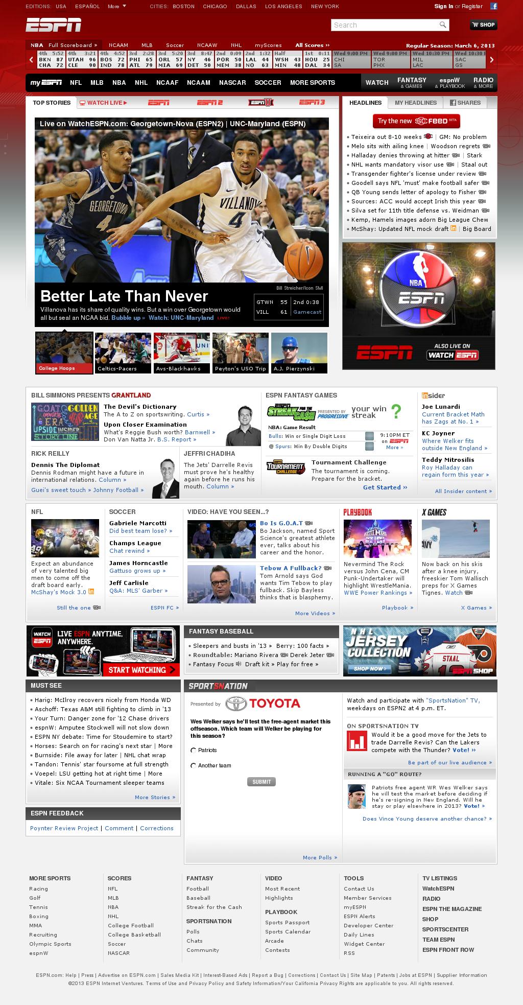 ESPN at Thursday March 7, 2013, 2:05 a.m. UTC
