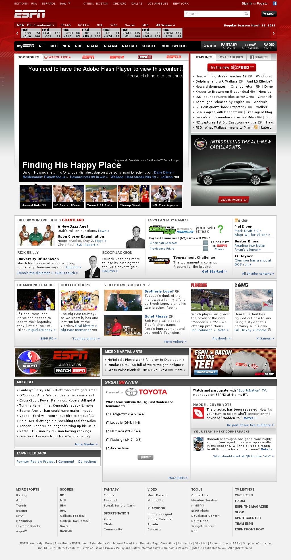 ESPN at Wednesday March 13, 2013, 7:06 a.m. UTC