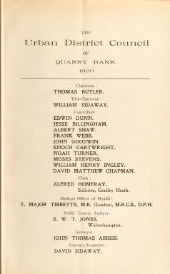 Cover of: [Report 1900] | Quarry Bank (England). Urban District Council