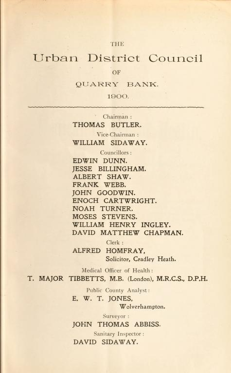 [Report 1900] by Quarry Bank (England). Urban District Council