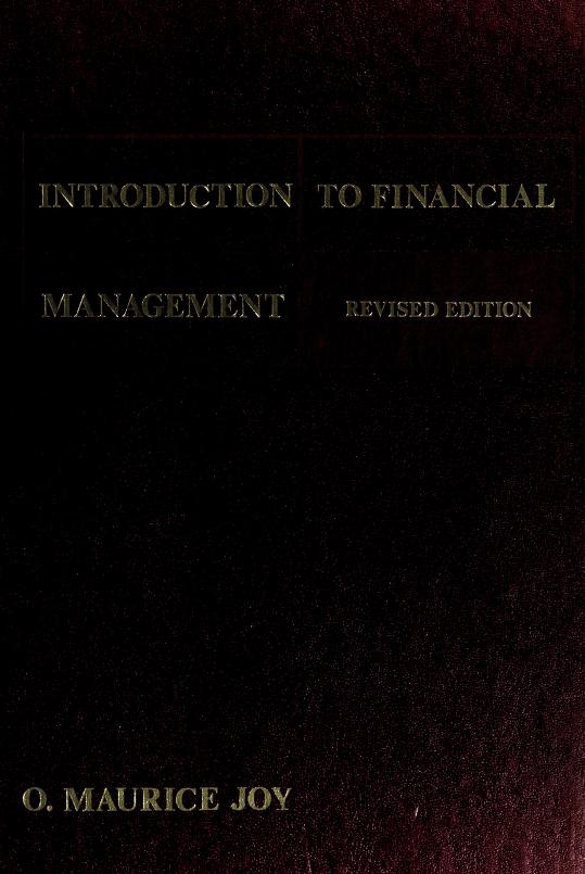 Introduction to financial management by O. Maurice Joy